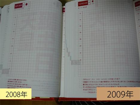 ほぼ日手帳2008と2009のデイリースケジュール比較写真